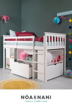 Girls Cabin Bed, Cabin Bed With Desk, Cabin Beds For Kids, Big Girl Bedrooms, Little Girl Rooms, Girls Bedroom, Diy Kids Furniture, Family Furniture, Furniture Plans