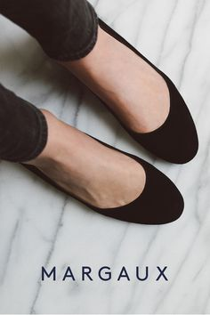 Margaux's Classic ballerina, available in both standard and made-to-measure sizes. This elegant wear-anywhere ballet flat is handcrafted from fourteen shades of Italian suede by artisans in both Spain and New York.