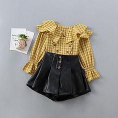 Fall Girl Suits 2019 Autumn Baby Girls Two Piece Sets Ruffles Plaid Shirt With Pu Skirts Kids Clothing Girl Sleeves, Kids Pants, Khaki Green, Yellow, Coat Patterns, Girl Falling, Toddler Fashion, Kids Girls, Baby Girls