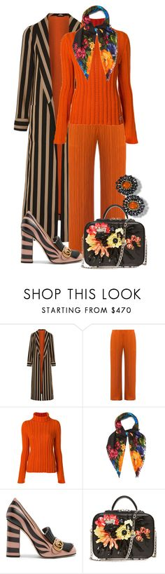 """Stripe with Flowers"" by shirley-degannes ❤ liked on Polyvore featuring Etro, Pleats Please by Issey Miyake, Salvatore Ferragamo, Gucci and La Perla"