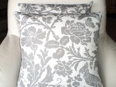 Pillows Decorative Throw Pillows Cushion Covers Gray White with Bird BOTH SIDES - Pair of Two 16 x 16