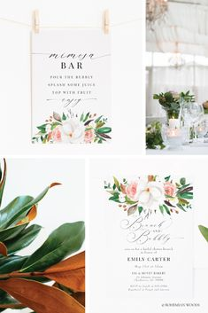 Magnolia Rose Bridal Shower Collection | Invitations, Menus, Welcome Signs, Prints, Thank You Cards and more | Easy to edit, print + ship Garden Shower, Bridal Showers, Thank You Cards, Magnolia, Place Card Holders, Ship, Invitations, Signs, Rose