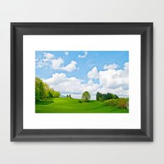 Wonderful spring Framed Art Print A meadow at the edge of a forest, with wonderful trees and fresh green grass of spring.   Nature, landscape, meadow, grass, green, trees, bushes, underwood,hill, clouds, sky, blue