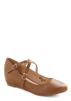 Crosswalk This Way Wedge in Tan, #ModCloth.                                      Simple and cute. I love tan shoes