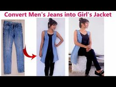 DIY: Convert/ Reuse/ Recycle Men's Old Jeans into Girl's Jacket/ Diy Girl's denim jacket - DIY: Convert/ Reuse/ Recycle Men& Old Jeans into Girl& Jacket/ Diy Girl& denim ja - Diy Jeans, Shorts Diy, Sewing Jeans, Sewing Clothes, Refaçonner Jean, Jean Diy, Artisanats Denim, Denim Purse, Girls Denim Jacket