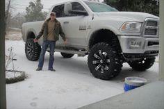 2013 white dodge ram 2500 cummins lifted jacked up snow