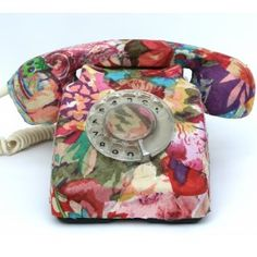 RETRO Telephone Refurbished 1960-70s covered with exotic fabric