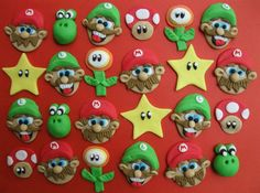 12 Super Marios Fondant Cupcake Toppers by ECTOPPERS on Etsy