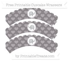 Free Taupe Grey Heart Pattern Baby Elephant Scalloped Cupcake Wrappers