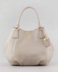 Prada Daino Medium Shoulder Tote Bag, Light Gray on shopstyle.com