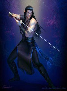 Elladan By Mathia Arkoniel   Elladan Es un peredhil o «medio elfo», hijo de Elrond y Celebrían, sobrino de Elros, y nieto, por lo tanto, de Galadriel y Celeborn. Era el hermano gemelo de Elrohir y hermano también de Arwen. Su nombre significa 'elfo-hombre', o mejor dicho, 'elfo-adan' (singular de «edain»).