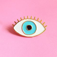 Lucky Blue Eye Enamel pin - Eye brooch - Evil Eye pin's - eyeball pin s - third eye pins - jewelry fun kitsch enamel brooch