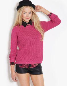Neon Rose Waffle Zip Jumper - BANK Fashion