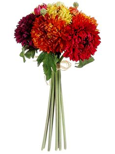 """Chrysanthemum Silk Bouquet in Fall Colors - 15"""" Tall...might be a good choice for the bridesmaids."""