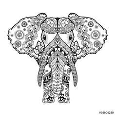 Zentangle stylized elephant  by palomita222