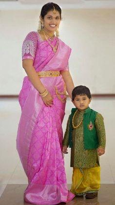 Rose Pink Bridal Kanjeevaram Sari with a Gloden Threads Muggu 3/4th Sleeve Blouse