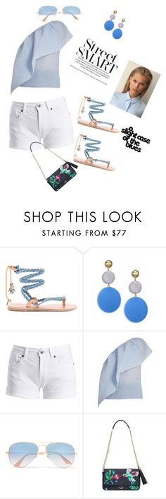 """""""Untitled #281"""" by eveallen-1 ❤ liked on Polyvore featuring Ancient Greek Sandals, Elizabeth and James, Barbour International, Rosie Assoulin, Ray-Ban and Kate Spade"""