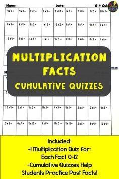 This is a great resource you can use daily in math class. These are spiral or cumulative multiplication quiz you can use in your classroom to help second, third, fourth and fifth grade students practice and not to forget the past facts they have already mastered. This aligns with 3.OA.7. For 2nd, 3rd, 4th and fifth grade students that are struggling, you can send these home as extra practice. Also, these can also be used for morning work. #thirdgrademath #multiplicationfacts #mathresources