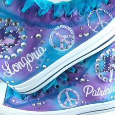 Custom Airbrushed Converse Sneakers ANY color on WHITE by Plooms