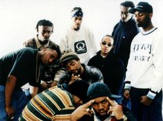 The Wu-Tang Clan. Clockwise from left: Ol Dirty Bastard, the GZA, the RZA, Inspectah Deck, Masta Killa, Raekwon and Ghostface Killah. Center, from left, Method Man and U-God.