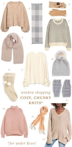 Cozy, chunky knits round up. Cold weather and winter trend shopping for oversized knit clothing and accessories (for under $100!) on jojotastic.com
