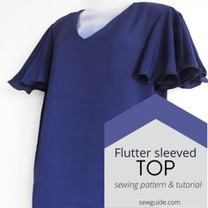 Sew a casual top with flared fluttery sleeves Sewing Sleeves, Add Sleeves, Short Sleeves, Sewing Patterns, Sewing Ideas, Sewing Projects, Coat Patterns, Sewing Hacks, Flutter Sleeve Top