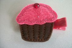Boutique Embroidered Cupcake Felt Hair Clippie by pachwilliamson, $3.00