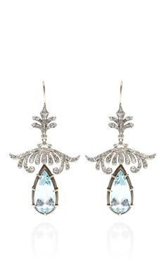 Antique Diamond And Aquamarine Earrings by Doyle & Doyle  on Moda Operandi