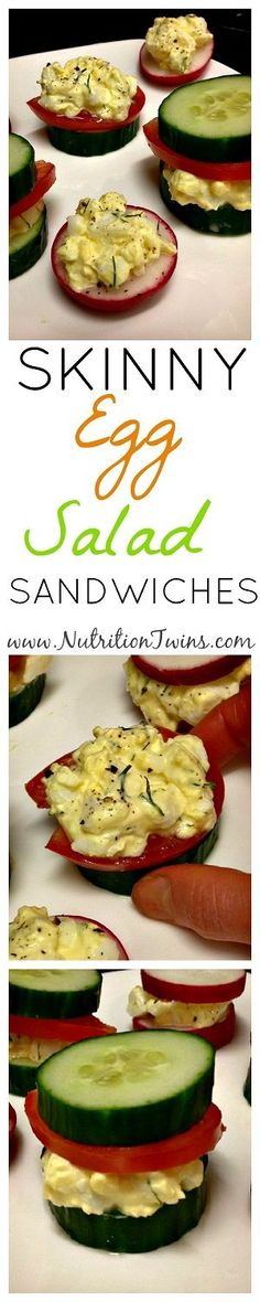 Skinny Egg Salad Sandwiches  Only 40 Calories   Creamy, Crunchy   Healthy Egg Salad @egglandsbest  .client   For MORE RECIPES, fitness & nutrition tips please SIGN UP for our FREE NEWSLETTER www.NutritionTwins.com