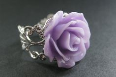 Purple Rose Ring. Purple Flower Ring. Filigree Ring. Adjustable Ring. Flower Jewelry. Handmade Jewelry. by StumblingOnSainthood from Stumbling On Sainthood. Find it now at http://ift.tt/2arSkVj!