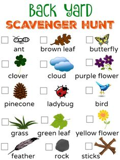 Back Yard Scavenger Hunt [+ Free Printable!] Looking for an activity to get your kids outside and active? Be sure to save the Back Yard Scavenger Hunt picture and printable to get your kids exploring! Outdoor Scavenger Hunts, Nature Scavenger Hunts, Scavenger Hunt For Kids, Classroom Scavenger Hunt, Home Activities, Summer Activities For Kids, Outside Activities For Kids, Outdoor Preschool Activities, Camping Games For Kids