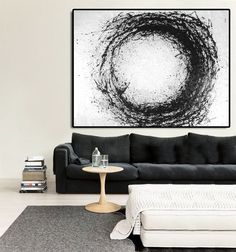 Large Abstract Art, Hand Made Acrylic Painting Minimalist Art, Abstract Painting On Canvas, Modern Art Circle. Black White.