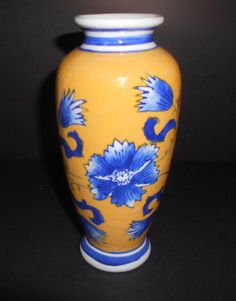 Vintage Blue Flowers on a Yellow Ceramic Vase ~ by VintageTrendyCharm on Etsy