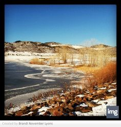 Frozen lake with ice circles in Littleton, Colorado.