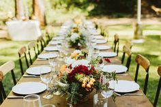 Rustic Table with Flower Arrangements