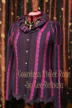 Knitted jacket Countess Violet Rose by Lee Reinula, merino and lace 2014