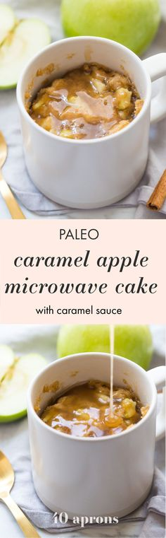This paleo caramel apple microwave cake is indescribably good, with a moist cinnamon-spiced cake, tender green apples, and a 2-minute caramel sauce to top it all. I bet you'll make this paleo caramel apple microwave cake all the time, since it only take a few minutes to stir together and two minutes in the microwave to cook! This paleo caramel apple microwave cake is the perfect paleo microwave dessert. I'm obsessed!