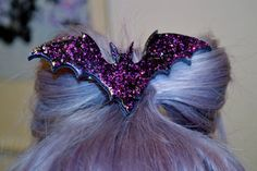 Bat Necklace hair clip Holo Glitter, Pastel Goth, Fairy Kei, Soft Grunge, Kawaii on Etsy, $10.45