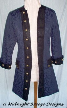 $275.00 MADE TO ORDER Mens  Renaissance Pirate Frock Coat Costume, Choice of Fabrics and Colors