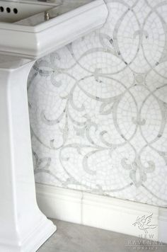 """""""Marabel, a hand cut natural stone mosaic shown in honed Thassos and polished Calacatta Tia, is part of the Silk Road Collection by Sara Baldwin for New Ravenna Mosaics"""" Beadboard Backsplash, Herringbone Backsplash, Mosaic Backsplash, Marble Mosaic, Stone Mosaic, Backsplash Ideas, Tile Ideas, Travertine Backsplash, Kitchen Backsplash"""