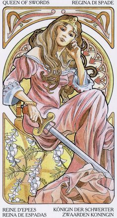 Tarot Art Nouveau artist:Antonella Castelli.  A Gallery of all the tarot images can be seen here  http://www.marytcusack.com/maryc/tarot/Art%20Nouveau.html