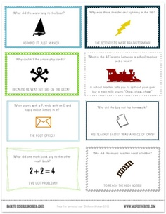 Free Printable School Lunch Notes/ Jokes