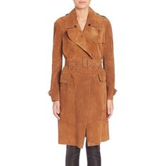 Burberry Hawkesley Suede Trench Coat ($4,820) ❤ liked on Polyvore featuring outerwear, coats, apparel & accessories, cognac, brown trench coat, long sleeve coat, burberry coat, burberry and brown suede coat