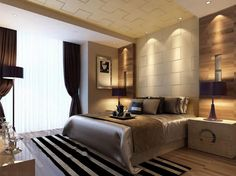 Bedroom with neutral tones and natural wood accents