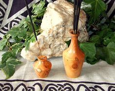 Set of 2 Incense Stick Holders Handcrafted in Yew wood Pagan Wicca Rituals Wiccan Altar, Pagan, Incense Sticks, Home Decor Shops, Mason Jar Lamp, Glass Vase, Wood, Crafts, Handmade