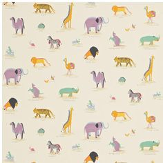 Two By Two Fabric from Sanderson Abracazoo Collection. An adorable children's fabric depicting pairs of naively drawn animals bound for Noah's Ark, printed in multicolours on a beige cotton ground. Print Wallpaper, Animal Wallpaper, Fabric Wallpaper, Childrens Curtains, Sanderson Fabric, Painted Rug, Made To Measure Curtains, Curtains With Blinds, Zebras