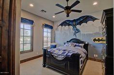 Craftsman Kids Bedroom with Batman theme, American drew camden dark armoire, interior wallpaper, Carpet, Ceiling fan
