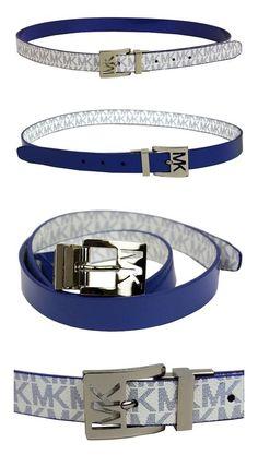 e8712100883 $38.99 - Michael Kors Women's 25mm Reversible Patent to Logo PVC Belt, Blue  #michaelkors