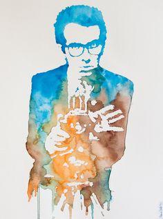 watercolor Elvis Costello!