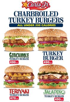 Dont worry about calories!Charbroiled Turkey Burgers are Back at Carl's Jr. Come and try yours today Real Burger, Good Burger, Turkey Burgers, Salmon Burgers, Salmon And Shrimp, Carl's Jr, 500 Calories, Tasty, Lunch